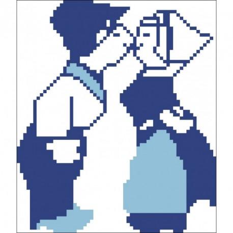 Borduurpakket kussende poppetjes blauw 15x15cm