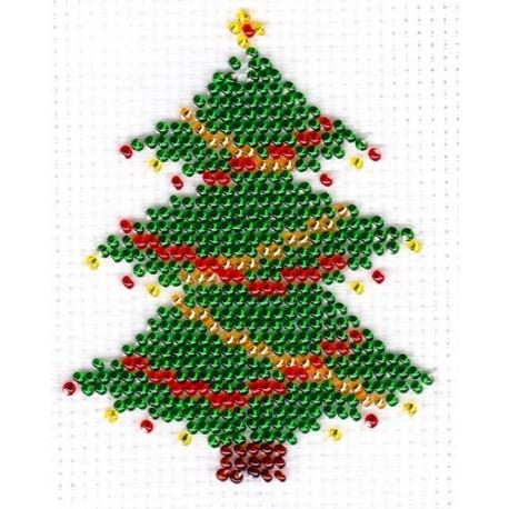 Borduurpakket kerstboom 8x11cm