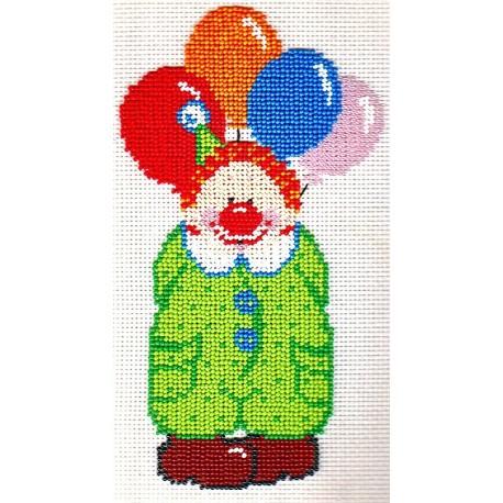 Borduurpakket clown 24x14cm.