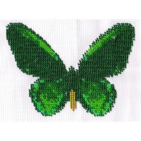 Borduurpakket vlinder groen/zwart 11x16cm