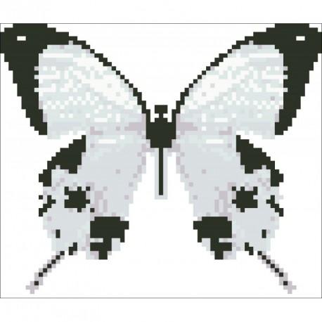 Borduurpakket vlinder wit/zwart 15x17cm