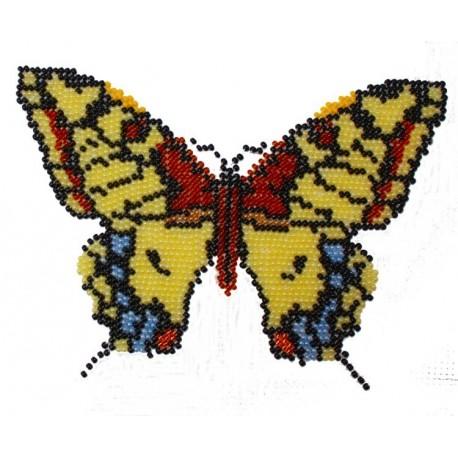 Borduurpakket vlinder geel/bruin/blauw 11x15cm