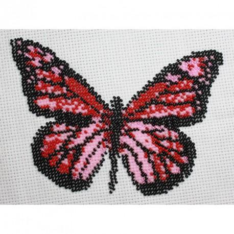 Borduurpakket vlinder rose/rood 13x16cm