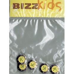 Knoop 17mm metaal geel met letter K 5st