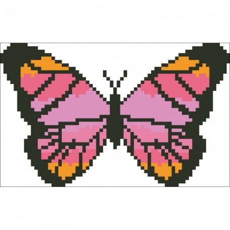 Borduurpakket vlinder oranje/rose/zwart 9x15cm