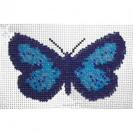 Borduurpakker vlinder blauw/zwart 9x14cm.