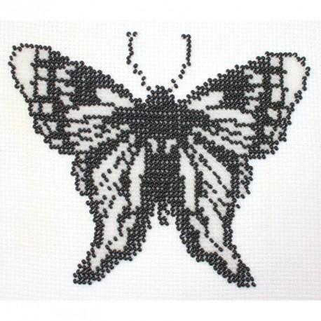 Borduurpakket vlinder zwart/wit 13x16cm