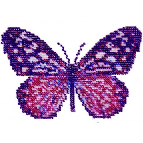 Borduurpakket vlinder roze/paars 10x16cm.