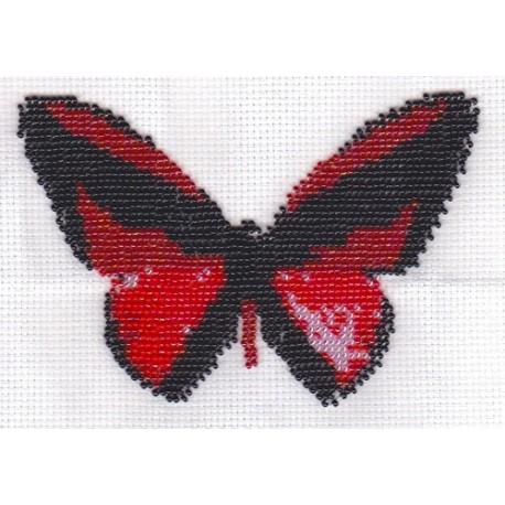 Borduurpakket vlinder roze/zwart 11x16cm.
