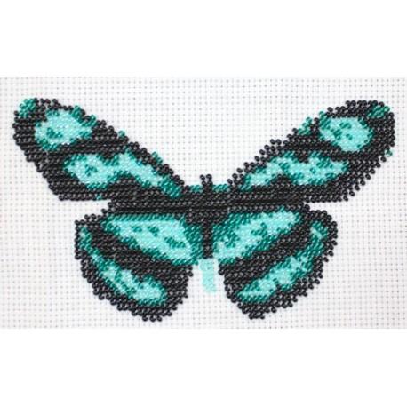 Borduurpakket vlinder groen/zwart 9x16cm.
