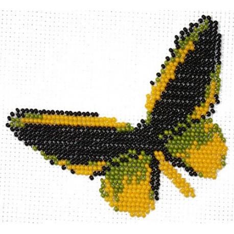 Borduurpakket vlinder geel/zwart 11x11cm.
