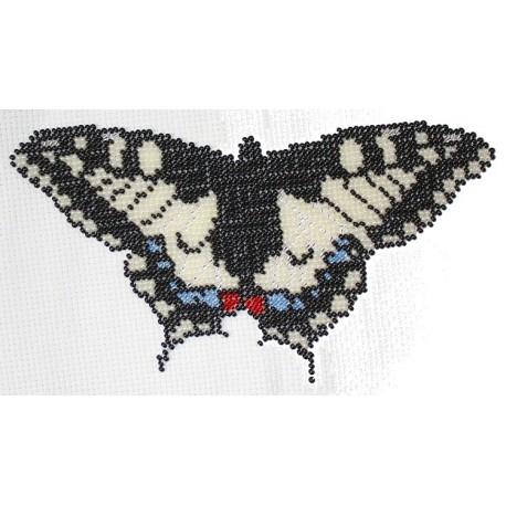 Borduurpakket vlinder beige/zwart/blauw 12x20cm