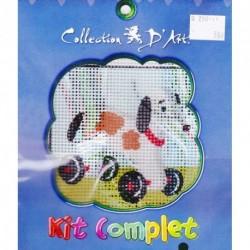Borduurpakket speelgoedhond op wielen10x10cm