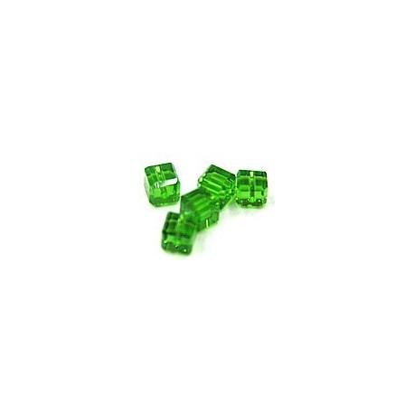 kubus kristal 4mm groen per 5