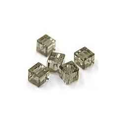 kubus kristal 4mm rookzwart per 5
