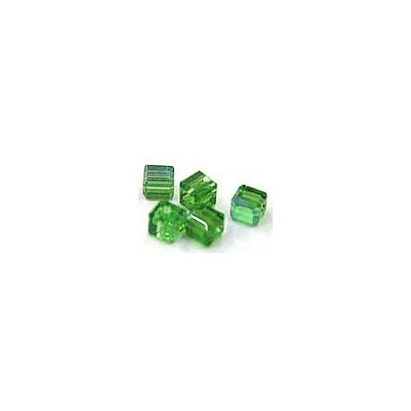 kubus kristal 4mm groen AB per 5