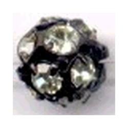 Strass kraal 10mm licht geel/zwart p/st