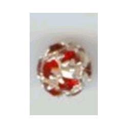 Strass kraal 6mm rood zilverkl. p/st