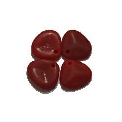 Glazen rozenblaadje 7x8mm mat d.rood 50st.