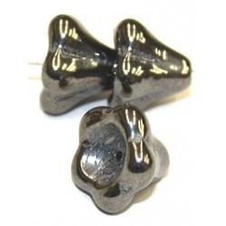 Glaskelk 13x11mm zwart hematiet wax gecoat 5st