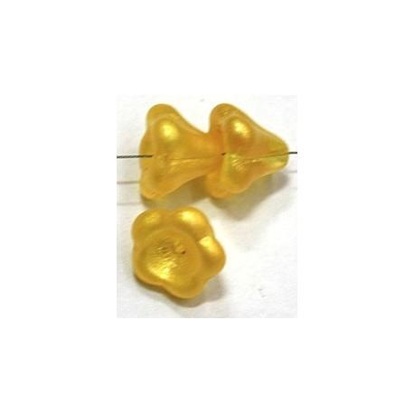 Glaskelk 13x11mm geel wax gecoat 5st