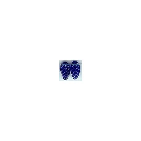 Glaskraal blad 17mm transp.blauw 25st.