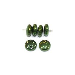 Lentils 6mm hangend jet green metallic 50st.0st.