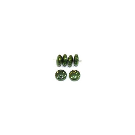 Lentils 6mm hangend jet green metallic 50st.0st.