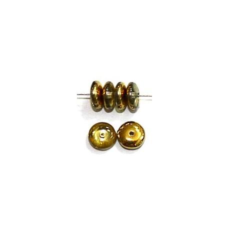 Glaskraal 6mm pastille chrystal brass 50st.