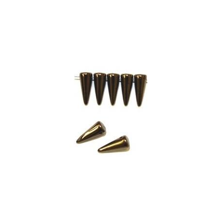 Glaskraal spike 5x13mm zwart gold bronze 20st