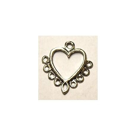Hanger 35x31mm hart met 9 ogen zilverkl. p.st