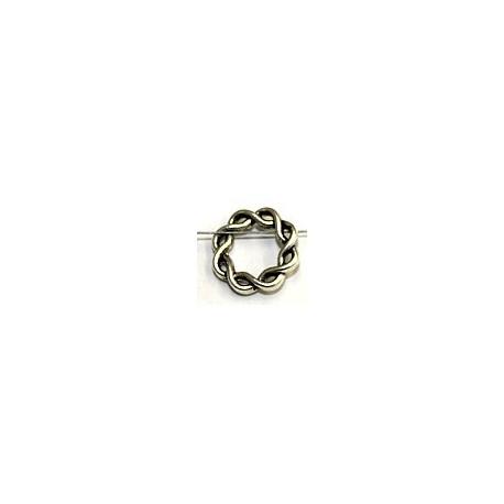 Metalen kraal gevlochten ring 15mm zilverkl. 6st.
