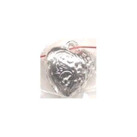 Metalen hanger hart 16x15mm zilverkl. p/st