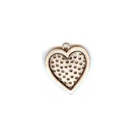 Hanger hart met gaatjes mat oud zilver 32mm p/st