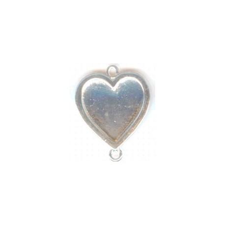 Hanger hart 32mm twee ogen verzilver p/st