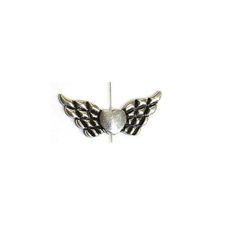 Metalen kraal hart met vleugels p.st