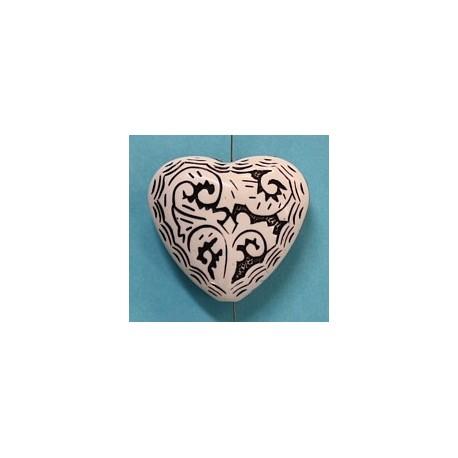 Kunststof hart 27mm wit/zwart