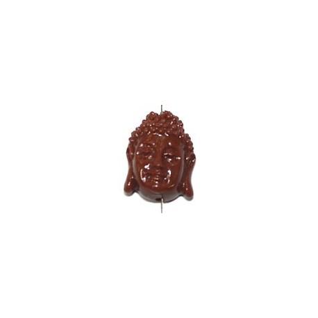 Boeddha 18mm imitatie koraal bruin p.st.