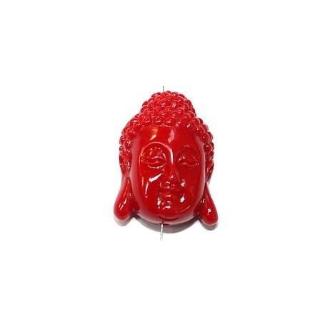 Boeddha 28mm imitatie koraal rood p.st.