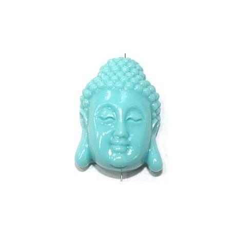 Boeddha 28mm imitatie koraal aqua p.st.
