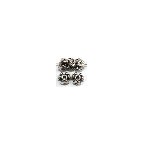 Metalen kraal bloem 4,1x6.5mm metaalkl. 10st.