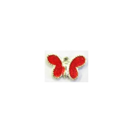 metalen hanger 11x21 vlinder rode epoxy 5 st