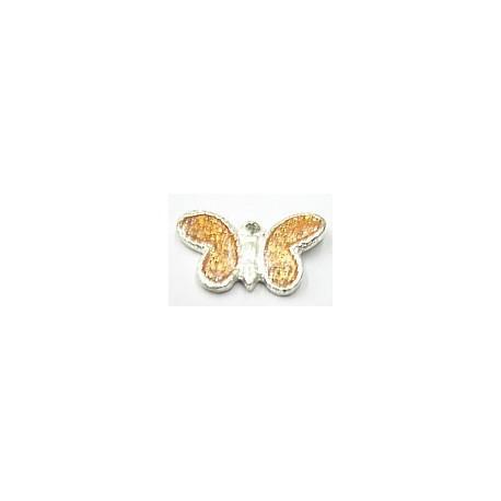 Metalen hanger 11x21 vlinder zalm epoxy 5st