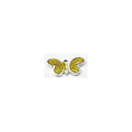 Metalen hanger 11x21 vlinder gele epoxy 5st.