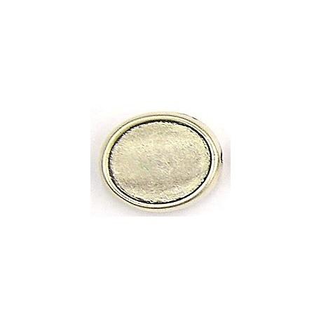Ovale plakkast oud-zilver, 8 mm bij 5 mm. 2st.