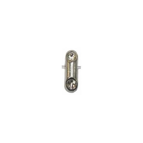 Metalen kraal 18mm zilverkl voor 4mm simili 2st