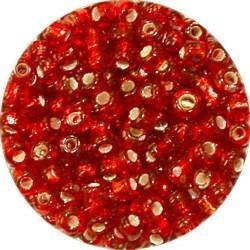 Rocailles 5/0 rood zilverkern 25 gram