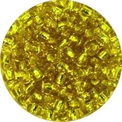 Rocailles 5/0 transp. geel zilverkern 25gr