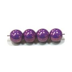 Glaskralen 6mm paars parelmoer ca.38 stuks