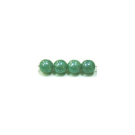 Glaskralen 6mm groen parelmoer ca.38 stuks